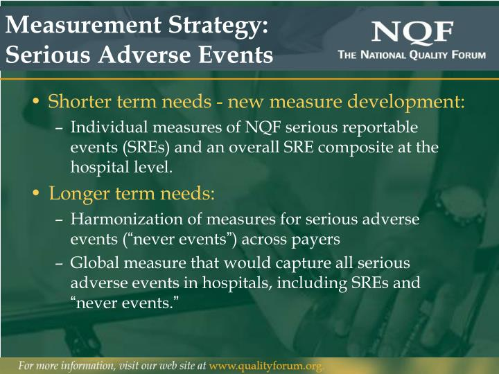 Measurement Strategy: Serious Adverse Events