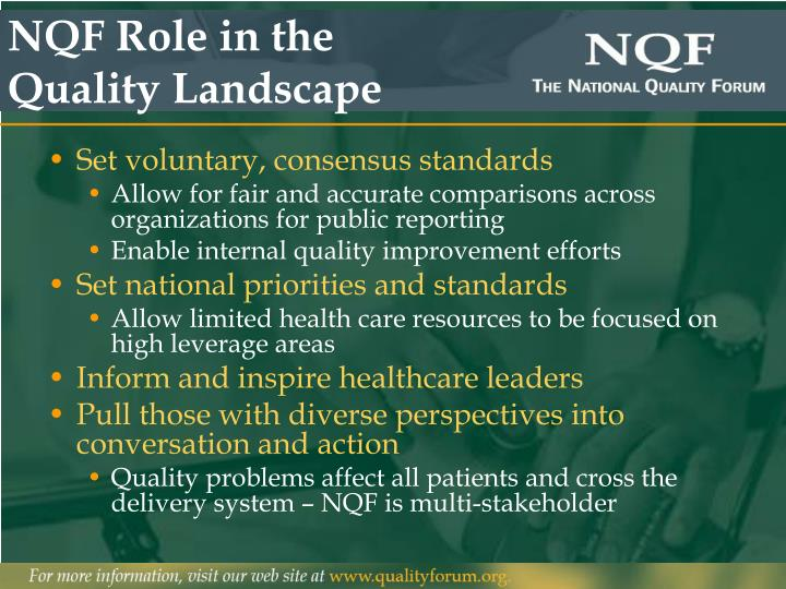 Nqf role in the quality landscape