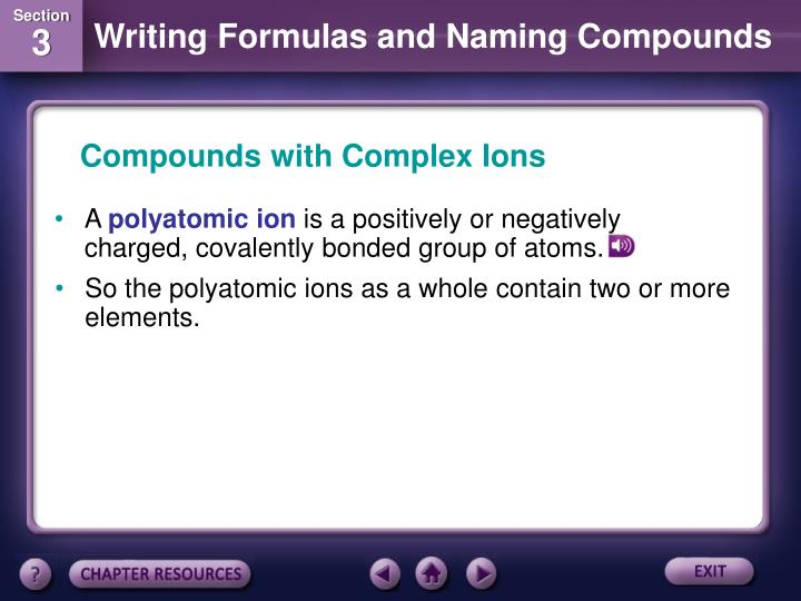 Compounds with Complex Ions