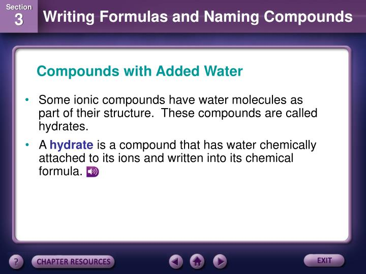 Compounds with Added Water