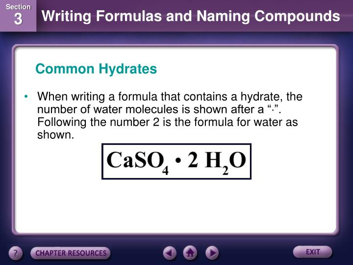 Common Hydrates