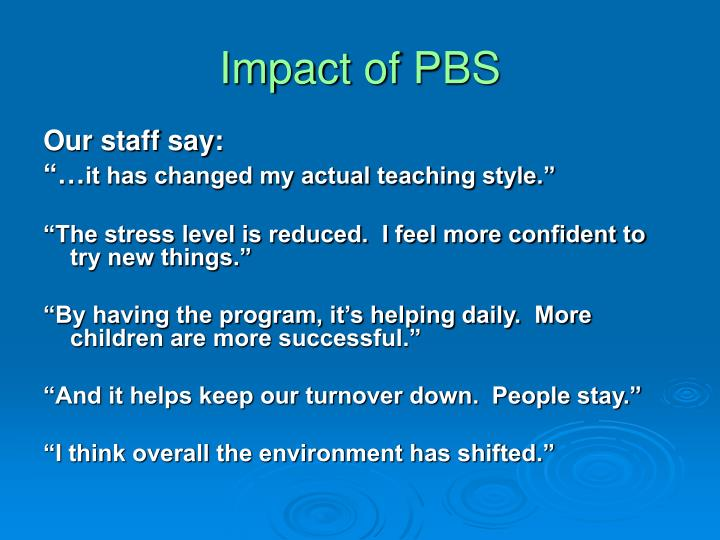 Impact of PBS