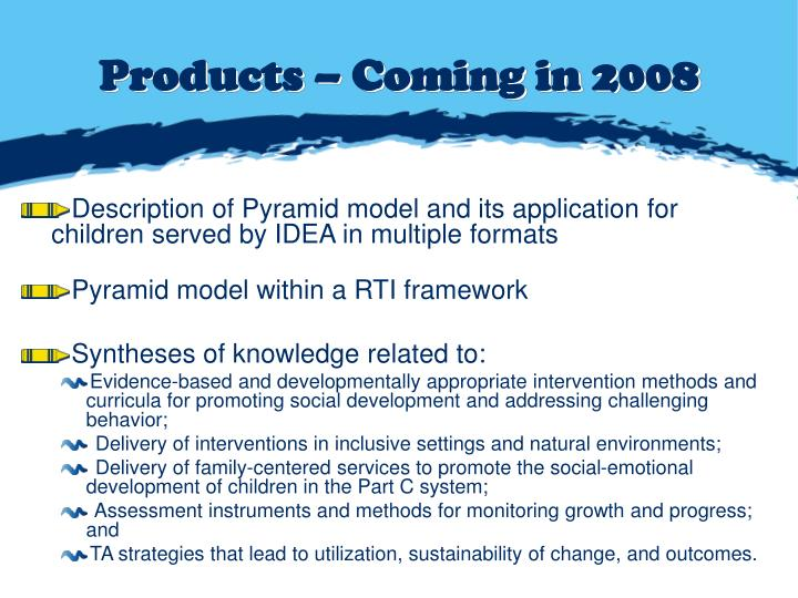 Products – Coming in 2008