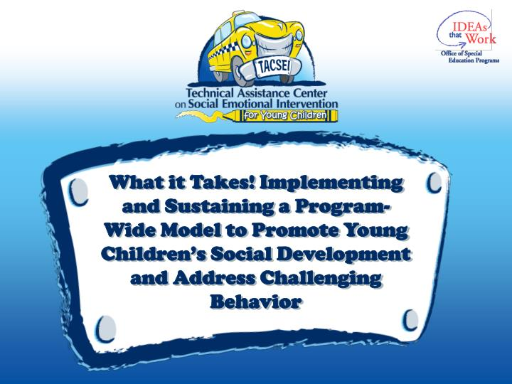What it Takes! Implementing and Sustaining a Program-Wide Model to Promote Young Children's Social...