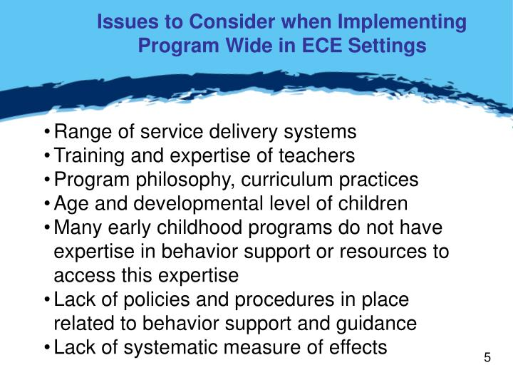 Issues to Consider when Implementing Program Wide in ECE Settings