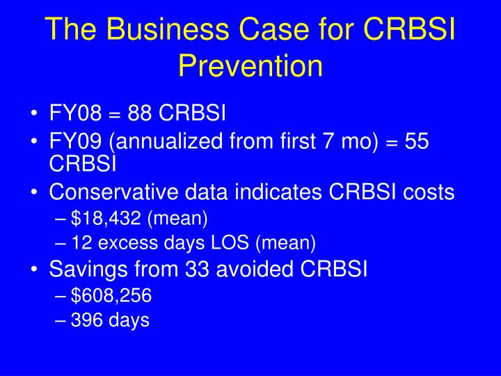 The Business Case for CRBSI Prevention