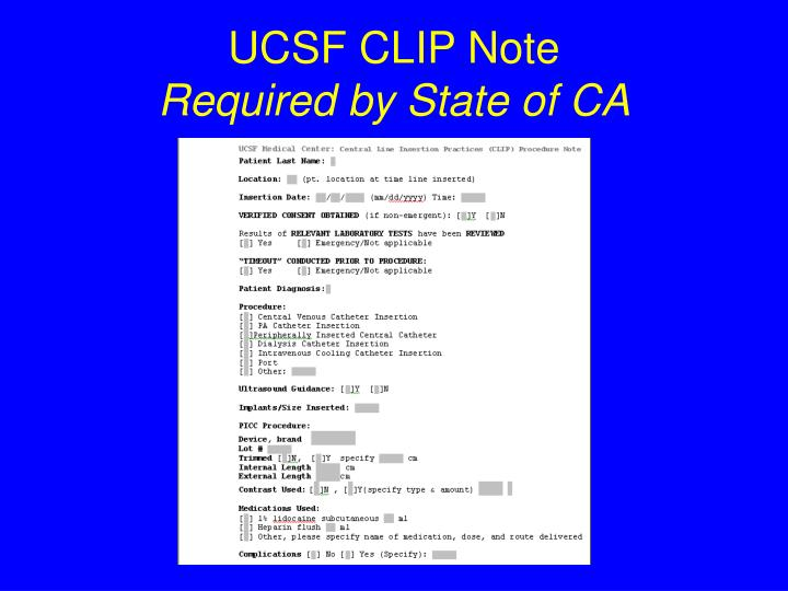 UCSF CLIP Note