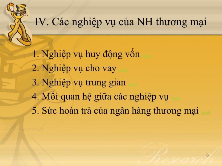IV. Các nghiệp vụ của NH thương mại