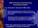 nhs priorities and planning framework 2002 3