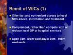 remit of wics 1