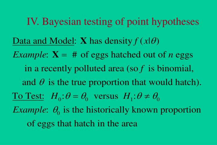IV. Bayesian testing of point hypotheses