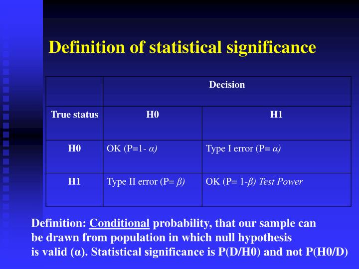 Definition of statistical significance