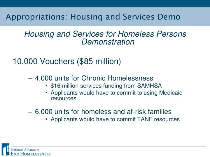 Appropriations: Housing and Services Demo