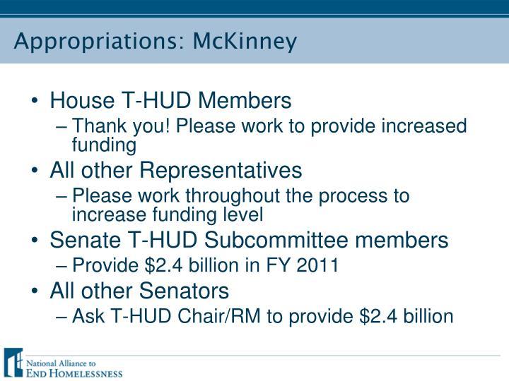 Appropriations: McKinney