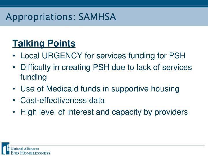 Appropriations: SAMHSA