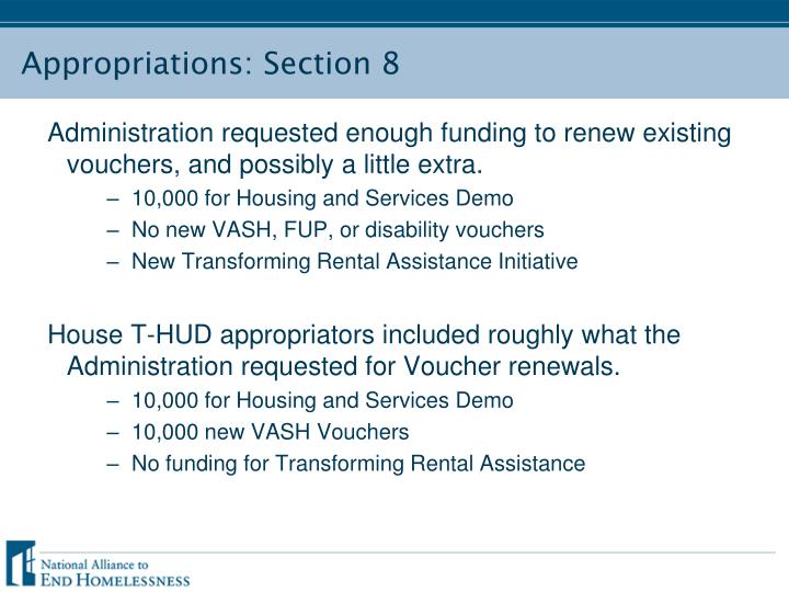 Appropriations: Section 8