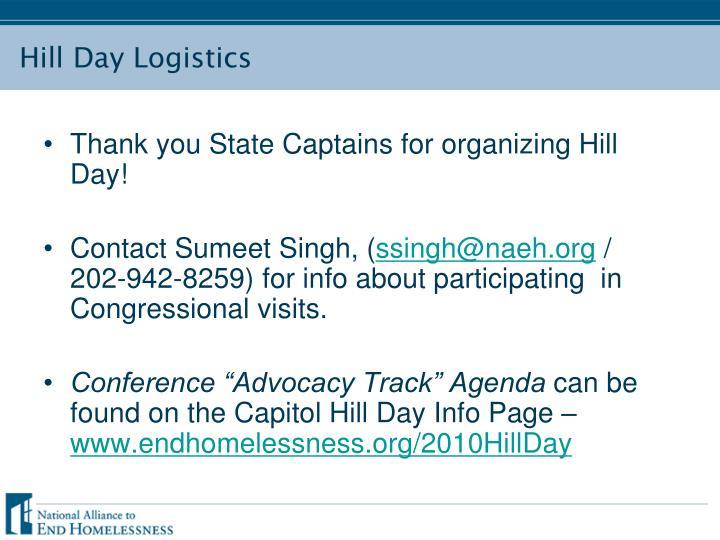 Hill day logistics