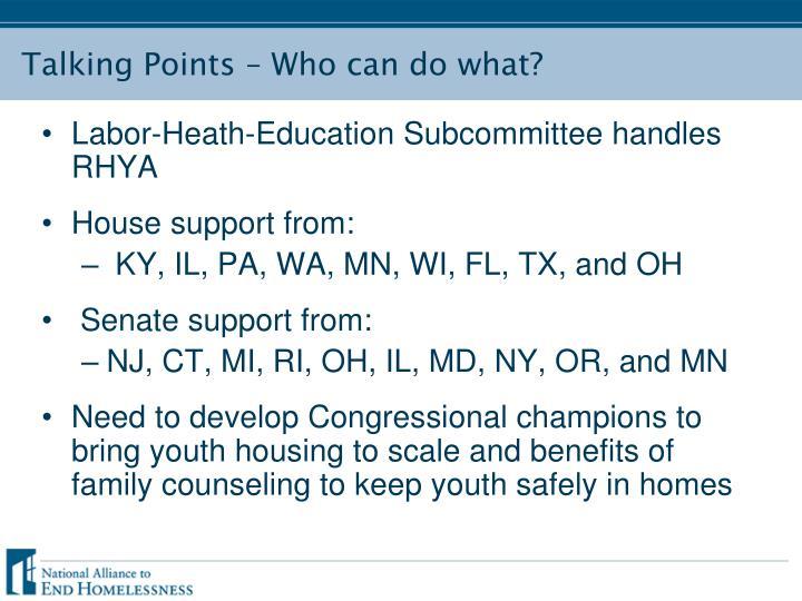 Labor-Heath-Education Subcommittee handles RHYA