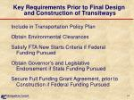 key requirements prior to final design and construction of transitways