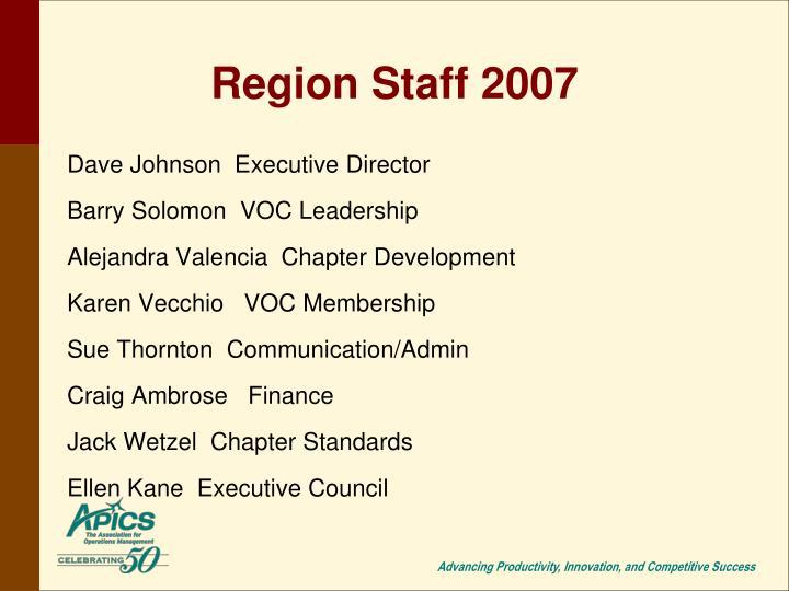Region Staff 2007