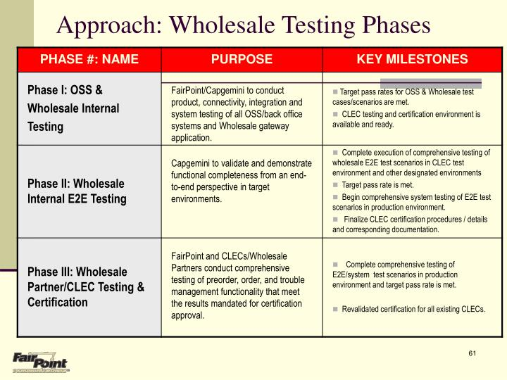 Approach: Wholesale Testing Phases