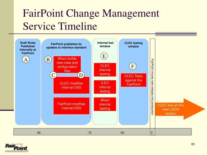 FairPoint Change Management Service Timeline