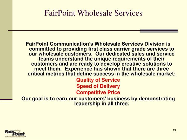 FairPoint Wholesale Services