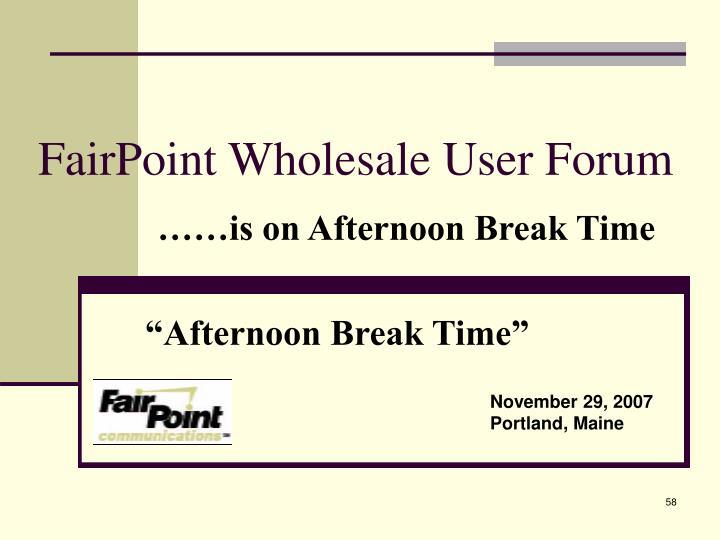 FairPoint Wholesale User Forum