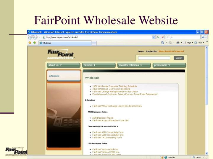 FairPoint Wholesale Website
