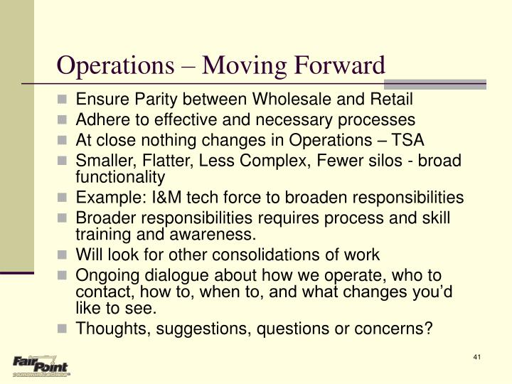 Operations – Moving Forward
