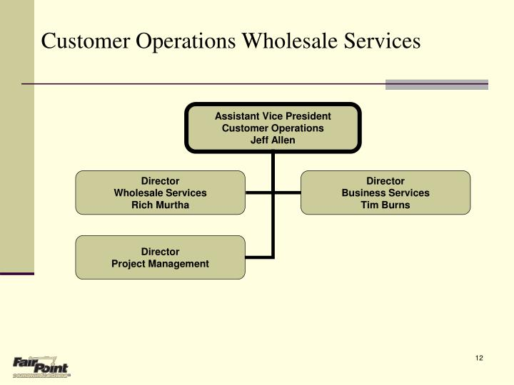 Customer Operations Wholesale Services