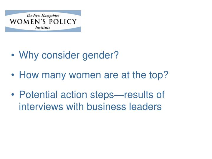 Why consider gender?