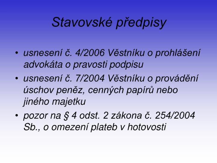 Stavovsk p edpisy