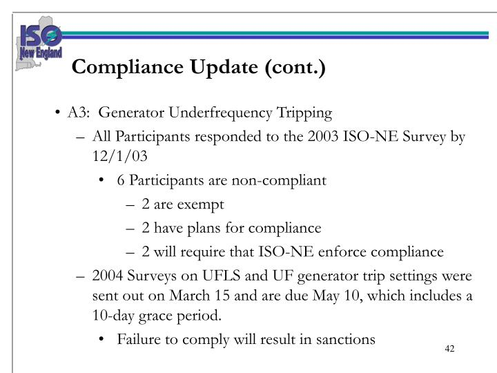 Compliance Update (cont.)