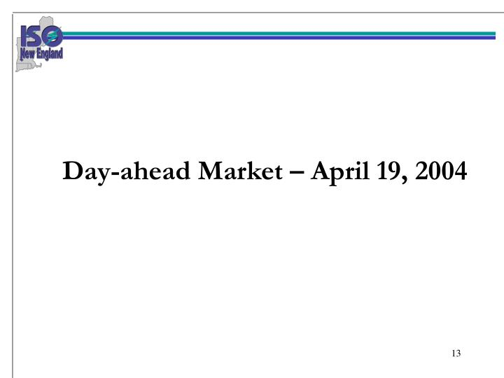 Day-ahead Market – April 19, 2004