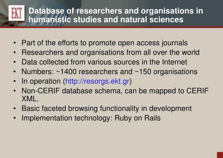 Database of researchers and organisations in humanistic studies and natural sciences