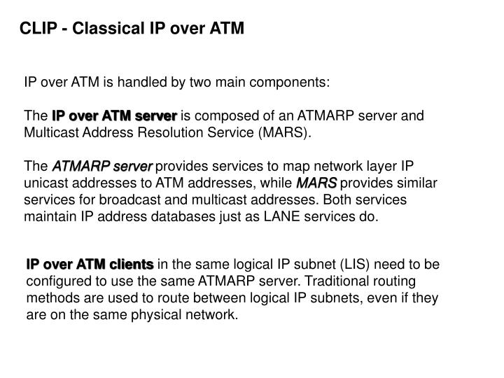 CLIP - Classical IP over ATM