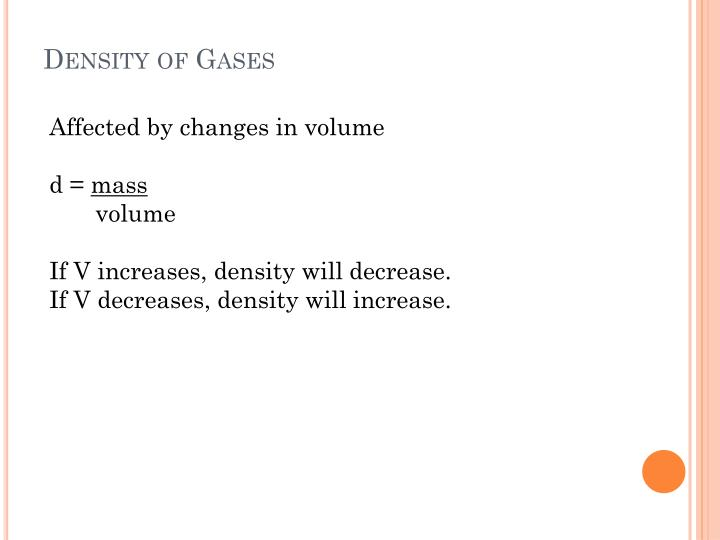 Density of Gases