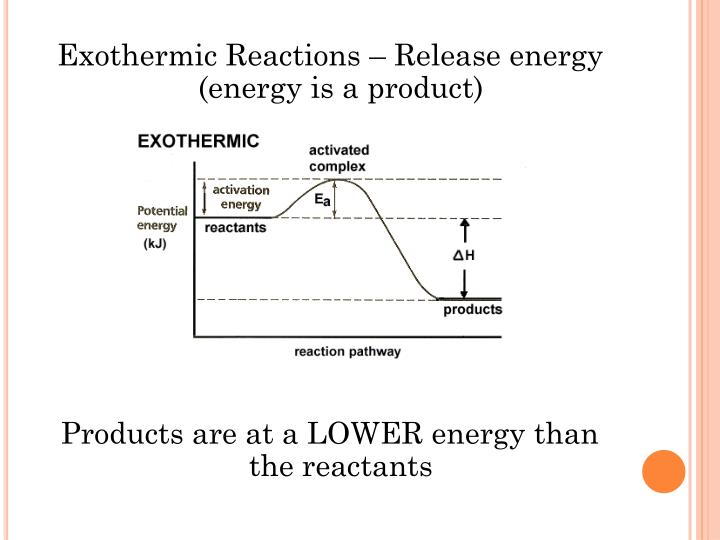 Exothermic Reactions – Release energy (energy is a product)