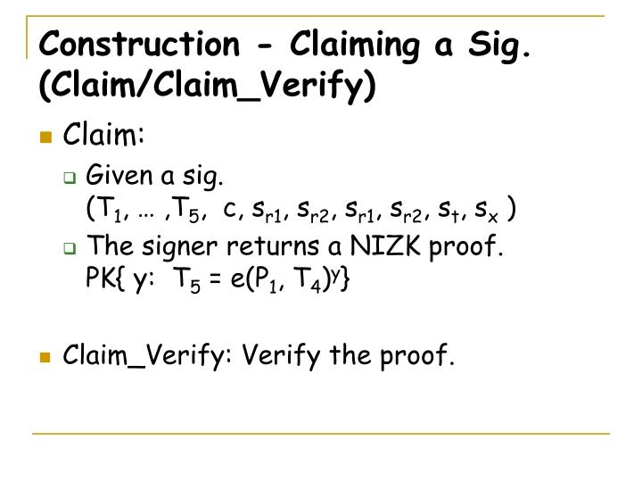 Construction - Claiming a Sig.
