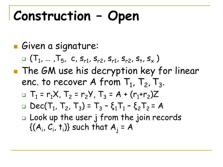 Construction – Open