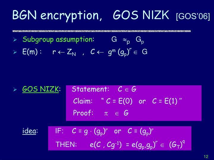 BGN encryption,   GOS