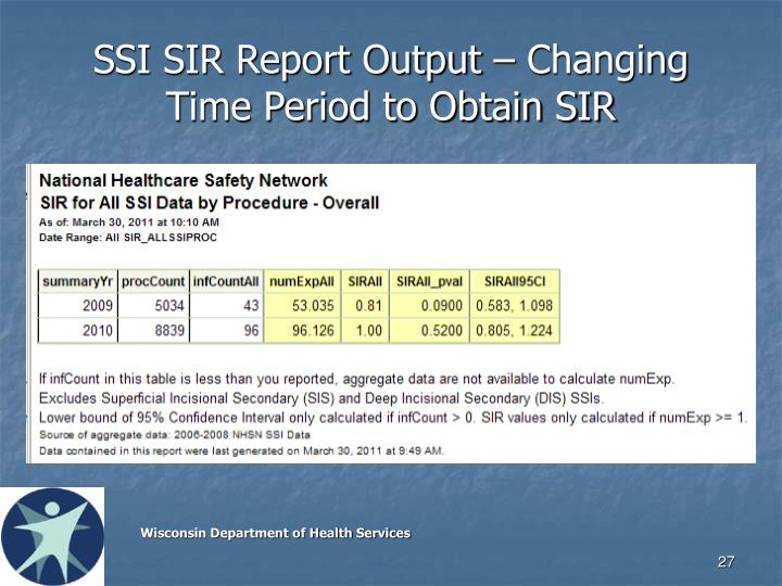 SSI SIR Report Output – Changing Time Period to Obtain SIR