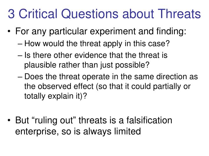 3 Critical Questions about Threats