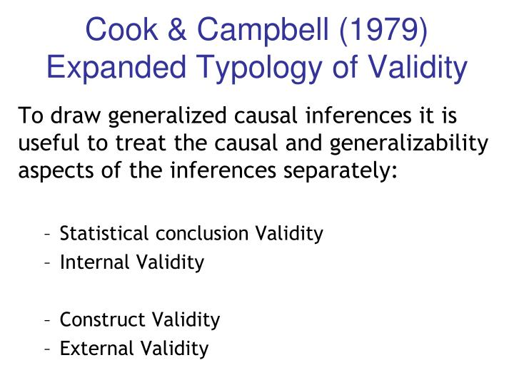 Cook & Campbell (1979) Expanded Typology of Validity