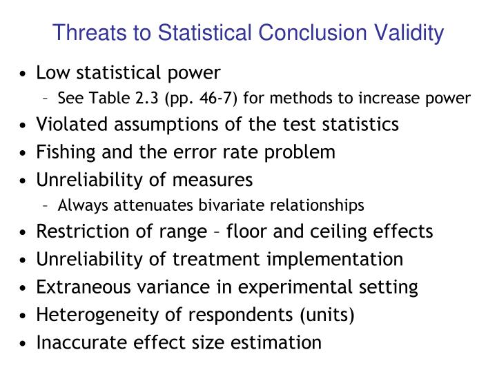 Threats to Statistical Conclusion