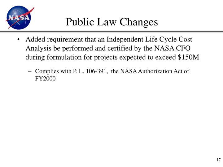 Public Law Changes