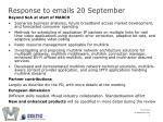 response to emails 20 september