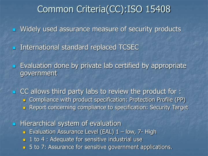 Common Criteria(CC):ISO 15408