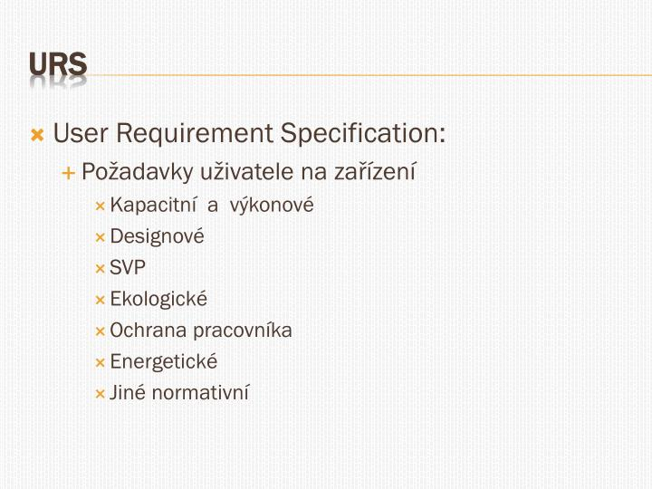 User Requirement Specification: